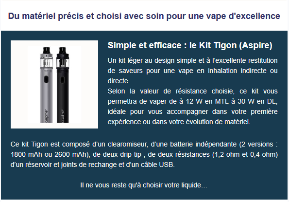 Smokee store propose le kit Tigon de chez Aspire